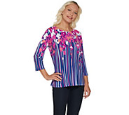 Bob Mackies Floral Print 3/4 Sleeve Jersey Knit Top - A254135