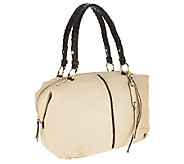 B.Makowsky Lola Pebble Leather Zip Top Satchel w/ Woven Trim - A255235