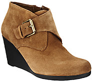 Isaac Mizrahi Live! Suede Ankle Boots with Buckle - A255935