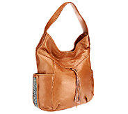 As Is Muxo by Camila Alves Shimmer Leather Hobo Bag - A256135