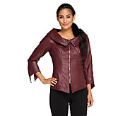 Mark of Style by Mark Zunino Faux Leather Zip Front Jacket - A258135