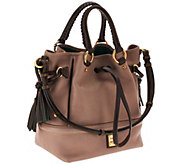 Dooney & Bourke Florentine Leather Buckley Bag w/ Brown Tomo Trim - A258235