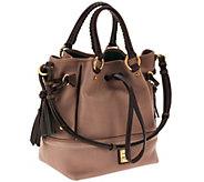 Dooney & Bourke Florentine Leather Buckley Bag w/ Brown Tomo Trim - A258235