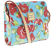 As Is Dooney & Bourke Coated Cotton Rose Garden Letter Carrier - A260435
