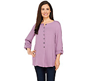 LOGO by Lori Goldstein Button Front Twill Top with Roll Sleeves - A263235