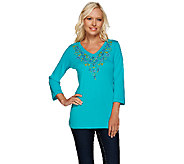 Quacker Factory Beaded Garden 3/4 Sleeve T-Shirt - A264535