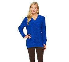 """""""As Is"""" Susan Graver Cable Stitch V-Neck Sweater with Hi-Low Hem"""