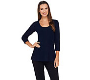 G.I.L.I. 3/4 Sleeve Scoop Neck Sweater Knit Peplum Top - A269935