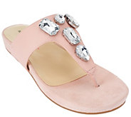 As Is Isaac Mizrahi Live! Leather Thong Sandals with Embellishments - A270835