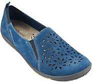 Earth Origins Suede Perforated Slip-on Shoes - Sugar - A274235