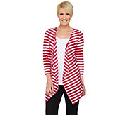 Susan Graver Weekend Sequin Stripe Sweater Knit Cardigan - A275235