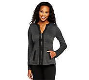 As Is Mark of Style by Mark Zunino Zip Front Knit Jacket - A277435