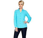 Denim & Co. Gauze Button Front Shirt with Roll Tab Sleeve - A277635