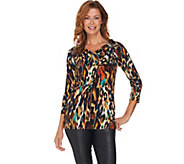 Susan Graver Artisan Printed Liquid Knit Drape Neck Top - A282935