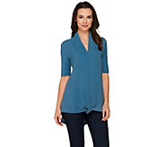 As Is H by Halston Short Sleeve Knit Top with Chiffon Drape Front - A287735