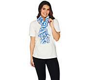 Denim & Co. Inspirational Words & Stripe Printed Scarf 28 x 72 - A288335