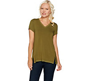 H by Halston Cap Sleeve V-neck T-shirt with Mesh Trim - A292235