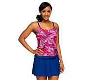 As Is Ocean Dream Signature Palm Faux Layered Tankini with Skirt - A292835