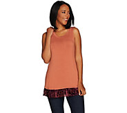 LOGO Layers by Lori Goldstein Knit Tank with Printed Velvet Burnout Hem - A296535