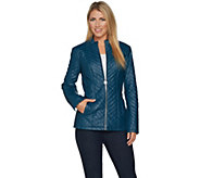 Dennis Basso Quilted Chevron Faux Leather Zip Front Jacket - A297435