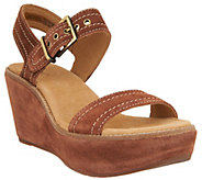 As Is Clarks Artisan Suede Wedge Sandals - Aisley Orchid - A297735