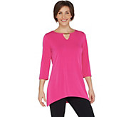 Belle by Kim Gravel Hi-Low Tunic with Keyhole Trim - A301535