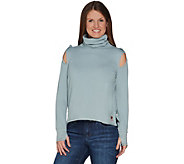 Peace Love World Turtle Neck Top with Shoulder Detail - A301635