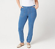 Denim & Co. Regular Comfy Knit Denim Pull On Jogger Pant - A301735
