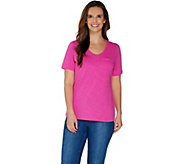Denim & Co. Essentials Textured Knit Top with Front Pocket - A304435