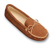 Minnetonka Mens Pile Lined Soft Sole Suede Slippers with Tie - A141136