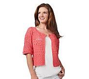 Attitudes by Renee Hand Crochet Elbow Sleeve Shrug - A221936