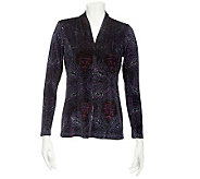 Linea by Louis DellOlio Printed Velvet V-neck Top w/Ruching - A228336