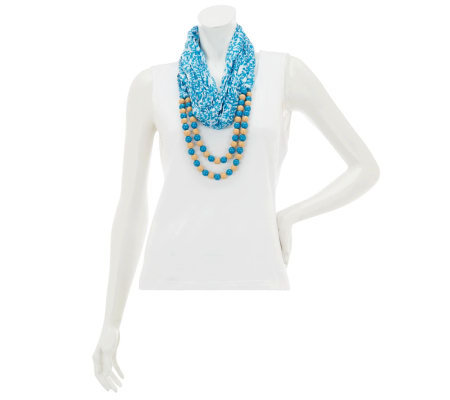 Wrapsody in Hues Patterned Eternity Scarf with Beads