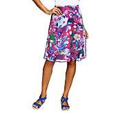 Isaac Mizrahi Live! Photo Real Floral Printed Chiffon Skirt - A230636