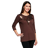 Quacker Factory Matte & Shiny Sequin Spray 3/4 Sleeve T-shirt - A230736