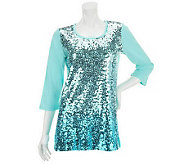Quacker Factory Scoopneck 3/4 Sleeve Sequin Tunic - A232136