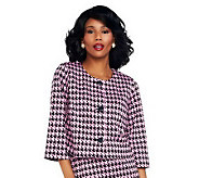 Joan Rivers 3/4 Sleeve Cropped Houndstooth Knit Jacket - A233536