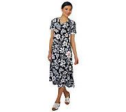 As Is Denim & Co. Short Sleeve V-neck Floral Print Knit Dress - A238036