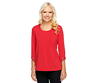 Susan Graver Butterknit U-Neck Top with Cuff Embellishments - A240136