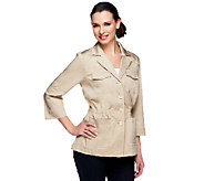 Joan Rivers Utility Jacket with 3/4 Roll Tab Sleeves - A252136