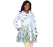 Dennis Basso Floral Print Notch Collar Belted Trenchcoat - A252736