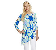 Susan Graver Liquid Knit Printed Top w/ Asymmetrical Hem - A253036