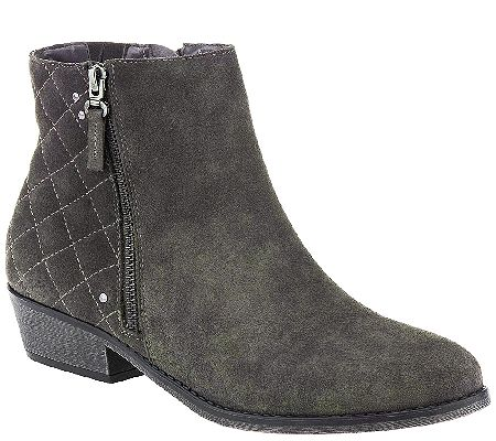 White Mountain Water Resistant Suede Ankle Boots - Jodi