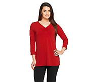 Susan Graver Liquid Knit 3/4 Sleeve V-neck Tunic w/ Shirring - A257136