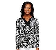 As Is Susan Graver Liquid Knit Printed Long Sleeve Top - A258336