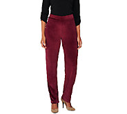 Susan Graver Velour Pull-On Straight Leg Pants - Regular - A258636