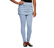 As Is LOGO by Lori Goldstein Regular Knit Leggings w/ Slub Skirt - A259836