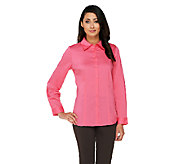 Susan Graver Stretch Woven Long Sleeve Button Front Shirt - A261936