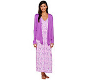Carole Hochman Petite Sumi Ikat Gown and Jacket Lounge Set - A262436