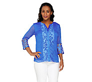 Isaac Mizrahi Live! 3/4 Sleeve Embroidered Damask Top - A262836